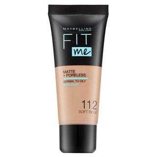 Maybelline Fit Me! Foundation Matte + Poreless 112 Soft Beige fond de ten lichid cu efect matifiant 30 ml
